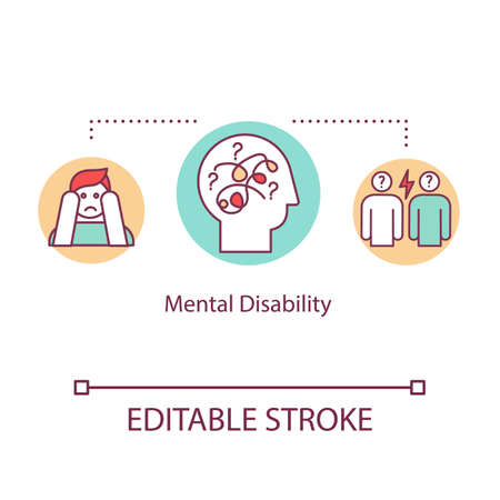 Mental disability concept icon. Psychological problems idea thin line illustration. Panic attack. Depression. Psychosis. Psychiatric sickness. Vector isolated RGB color drawing. Editable stroke