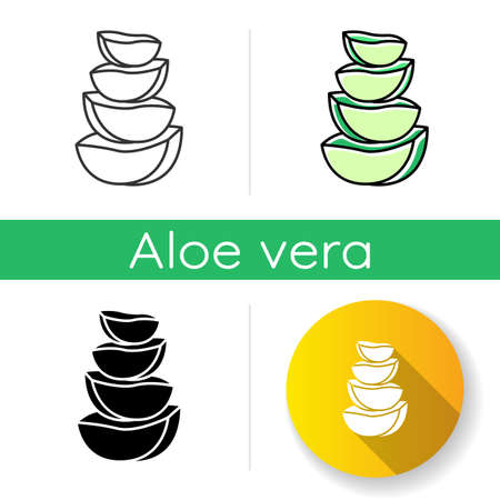 Aloe vera slices icon. Cut cactus pieces. Plant ingredient for cosmetic. Medicinal herbs. Dermatology and skincare. Botany, greenery. Linear black and RGB color styles. Isolated vector illustrations Illustration
