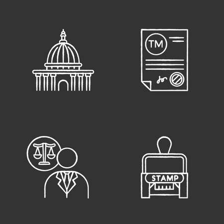 Notary services chalk white icons set on black background. Apostille and legalization. Notarized document. Trademark certificate. Supreme court. Lawyer. Stamp. Isolated vector chalkboard illustrations Ilustração