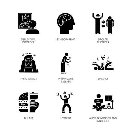 Mental disorder glyph icons set. Schizophrenia. Bipolar disorder. Panic attack. Parkinson disease. Epilepsy. Bulimia. Hysteria. Alice in wonderland. Silhouette symbols. Vector isolated illustration