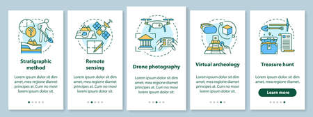 Archeology methods onboarding mobile app page screen with linear concepts. Study of terrain, treasure hunt walkthrough steps graphic instructions. UX, UI, GUI vector template with illustrations