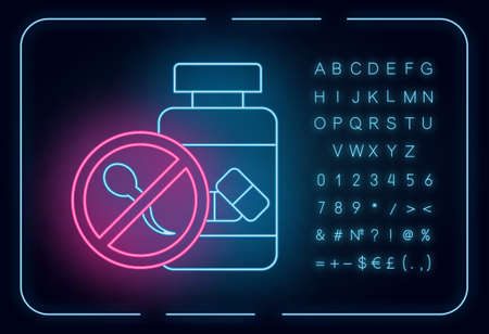 Birth control neon light icon. Oral contraceptive. Female healthcare. Unintended pregnancy prevention. Medication, pills. Glowing sign with alphabet, numbers and symbols. Vector isolated illustration Ilustrace