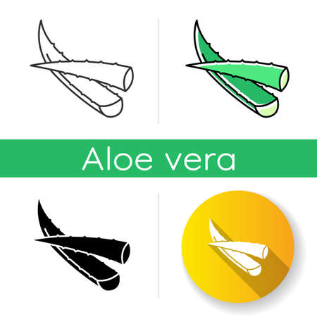 Aloe vera icon. Cut succulent leaves. Sliced cactus thorns. Plant sprouts. Dermatology and cosmetology. Medicinal herbs. Linear black and RGB color styles. Isolated vector illustrations Illusztráció