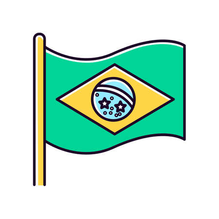 Flag of brazil green RGB color icon. State symbol. Constellation over Rio de Janeiro. South american country independence. Isolated vector illustration