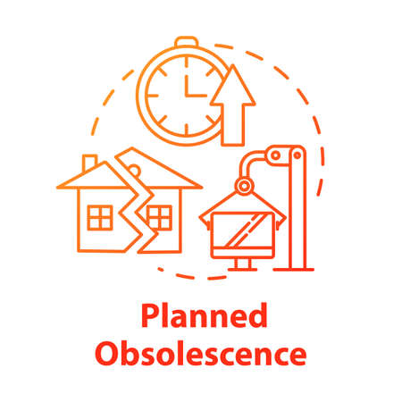 Planned obsolescence concept icon. Products with limited period of use. Unendurable technology. Overconsumption idea thin line illustration. Vector isolated outline RGB color drawing Ilustração