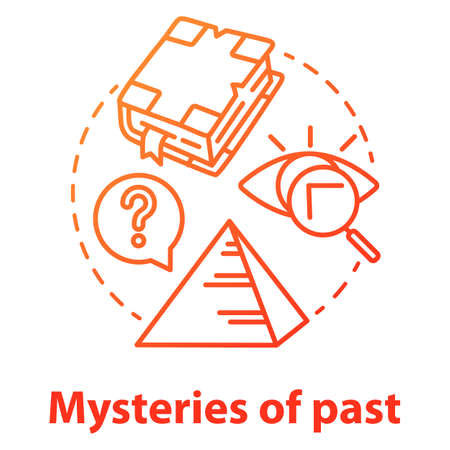 Mysteries of past concept icon. Historical researching. Study of ancient monuments and documents. Archeological researching. Vector isolated outline RGB color drawing