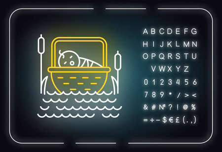 The Birth of Moses Bible story neon light icon. Newborn in basket. Hebrew prophet. Exodus Biblical narrative. Glowing sign with alphabet, numbers and symbols. Vector isolated illustration Stock Illustratie