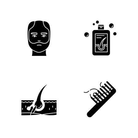 Hair loss black glyph icons set on white space. Man balding treatment. Male alopecia. Hair strands on comb. Damaged follicle. Medical shampoo. Silhouette symbols. Vector isolated illustration Ilustração