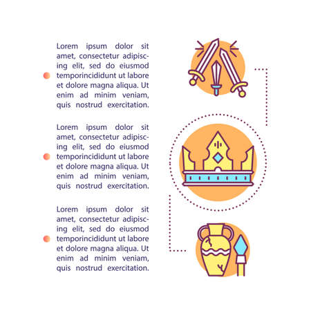 Artefacts concept icon with text. Museum values. Archaeological finds. Historical treasures. Article page vector template. Brochure, magazine, booklet design element with linear illustrations 일러스트