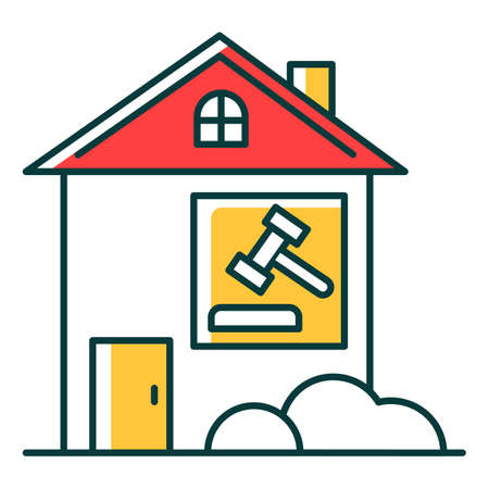 Real estate lawsuit RGB color icon. Tenancy legal dispute. Property litigation, court case. Realty trial. Lease agreement matter. Conflict resolution. Legal Isolated vector illustration  イラスト・ベクター素材