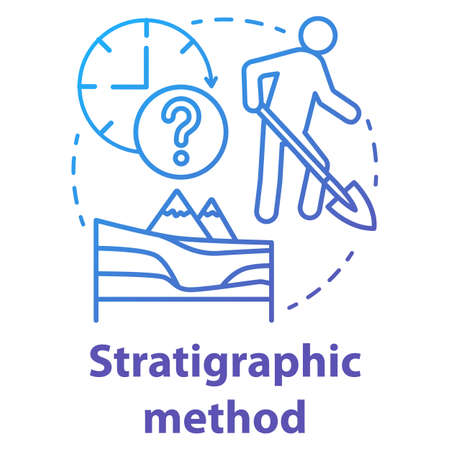 Stratigraphic method concept icon. Arheological excavation, historical layers. Study of sedimentary and layered rocks. Vector isolated outline RGB color drawing Banco de Imagens - 138553176