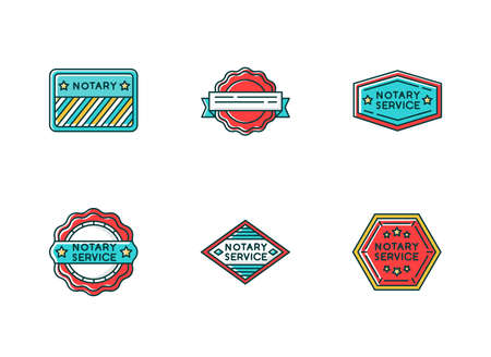Notary service stamps RGB color icons set. Apostille and legalization. Validation. Approval, confirmation. Legal document. Notarization. Authentification. Isolated vector illustrations Illustration