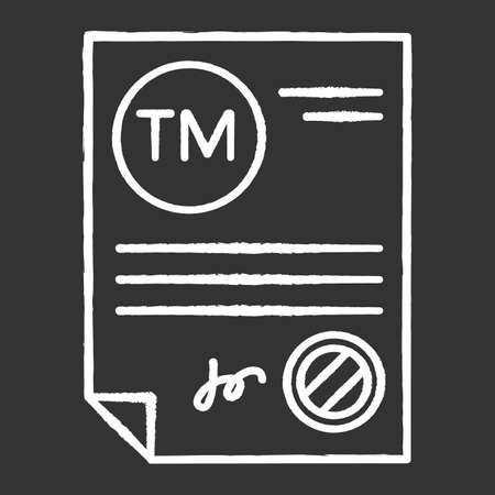 Trademark certificate chalk white icon on black background. Certification mark. Intellectual property license. Brand name registration. Notary services. Isolated vector chalkboard illustration Illustration