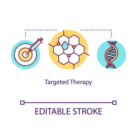 Targeted therapy concept icon. Cancer treatment idea thin line illustration. Immunotherapy. Medical help. Drug oncology treatment. Medications. Vector isolated RGB color drawing. Editable stroke