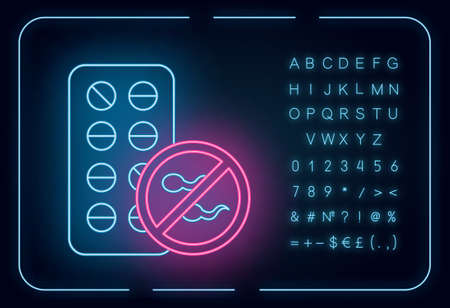 Birth control neon light icon. Female contraceptive pills. Unplanned pregnancy avoidance. Predmenstrual syndrome aid. Glowing sign with alphabet, numbers and symbols. Vector isolated illustration
