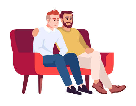 Two men on sofa semi flat RGB color vector illustration. Male friends on couch. Guys spending time together. Same-sex couple. Psychology consultation. Isolated cartoon character on white background 向量圖像
