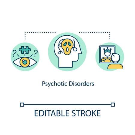 Psychotic disorders concept icon. Mental illness idea thin line illustration. Psychological problems. Panic attack. Psychosis. Vector isolated outline RGB color drawing. Editable stroke 일러스트
