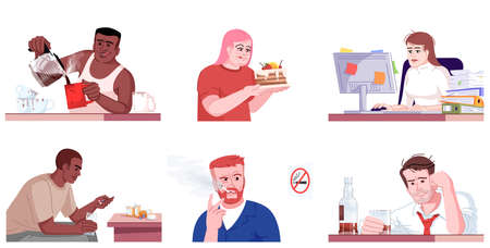 Human addiction flat vector illustrations set. Caffeine, drugs, smoking, workaholism, alcoholism, binge eating. Men and women with unhealthy dependences isolated cartoon characters