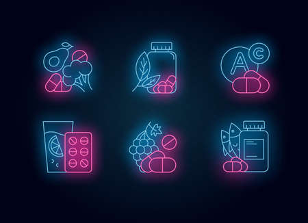 Vitamin intake neon light icons set. Vegetables and fruits for healthcare. Pharmaceutical aid. Diet supplement. Medication and pills. Multivitamin complex. Glowing signs. Vector isolated illustrations