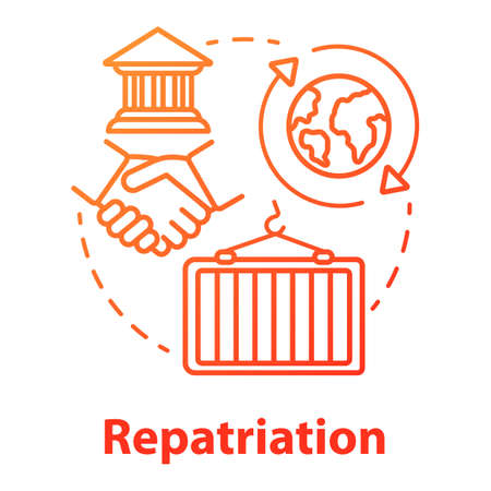 Repatriation concept icon. Return of historical values to country of origin. International agreement trade. Vector isolated outline RGB color drawing
