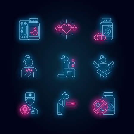 Predmenstrual syndrome neon light icons set. Replacement therapy. Gynecology. Libido racing. Antidepressant. Fatigue. Birth control. Chest pain. Glowing signs. Vector isolated illustrations Ilustracja