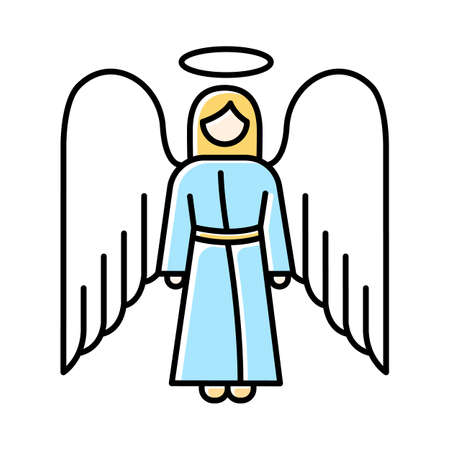 Angel color icon. Biblical archangel. Human figure in robe with wings and halo. Christmas holy angel. Gods messenger. Bible narrative. Christian symbol. Isolated vector illustration