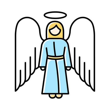 Icône de couleur ange. archange biblique. Figure humaine en robe avec ailes et halo. Saint ange de Noël. Messager de Dieu. Récit biblique. Symbole chrétien. Illustration vectorielle isolé Vecteurs