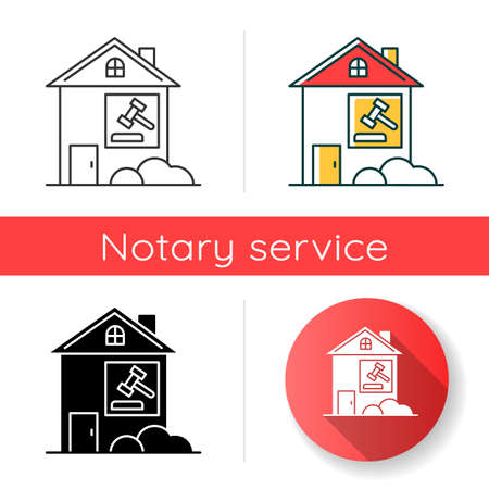 Real estate lawsuit icon. Tenancy legal dispute. Property litigation, court case. Realty trial. Lease agreement matter. Linear black and RGB color styles. Isolated vector illustrations  イラスト・ベクター素材