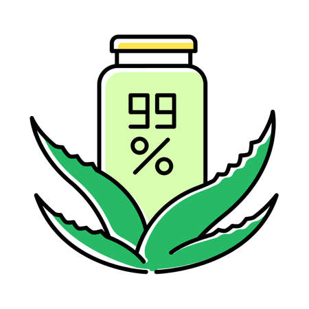 Pure organic wax green color icon. Skincare with medicinal herbs. Natural cream in jar. Plant based lotion. Healthy skincare. Dermatology and beauty. Salve, ointment. Isolated vector illustration
