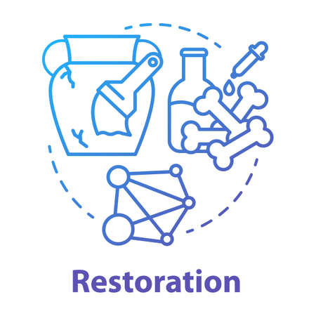 Restoration concept icon. Laboratory analysis archeological artifacts. Prehistoric remains study. History reconstruction. Vector isolated outline RGB color drawing