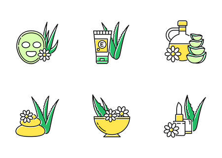 Aloe vera green color icons set. Cosmetology. Spa treatment. Facial mask. Natural cosmetic for moisturizing. Herbal oil. Organic lip balm. Skincare products. Isolated vector illustrations Ilustración de vector