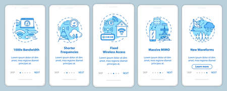 5G technologies onboarding mobile app page screen with linear concepts. Massive MIMO. Shorter frequencies. Five walkthrough steps graphic instructions. UX, UI, GUI vector template with illustrations Ilustrace
