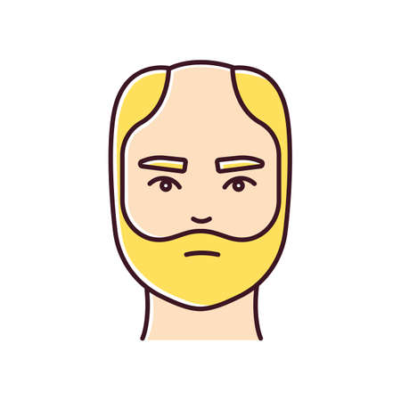 Male hair loss RGB color icon. Man with alopecia. Hairloss problem. Baldness spot. Dermatology and haircare treatment. Thinning hairline. Falling hair. Isolated vector illustration