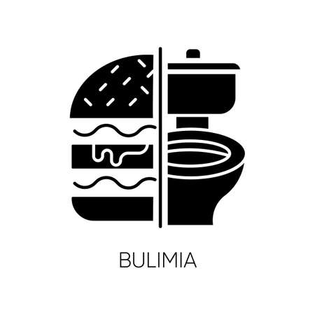 Bulimia glyph icon. Eating disorder. Vomiting food in bathroom. Unhealthy hunger. Binge eating from stress. Mental disorder. Silhouette symbol. Negative space. Vector isolated illustration 일러스트