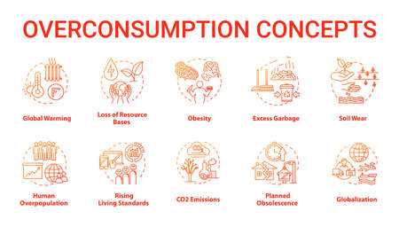 Overconsumption concept icons set. Global warming. Ecological and environmental damage. Consumerism idea thin line RGB color illustrations. Vector isolated outline drawings. Editable stroke Illustration