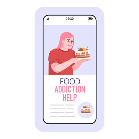 Food addiction help cartoon smartphone vector app screen. Mobile phone displays with flat character design mockup. Diet adjustment. Treatment of eating disorders application telephone interface