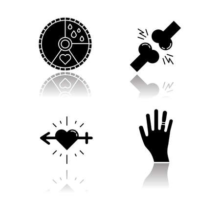 Predmenstrual syndrome drop shadow black glyph icons set. Menstrual cycle. Joint pain. Libido racing. Sex drive. Swollen hand. Muscle strain. Gain weight. Sport trauma. Isolated vector illustrations