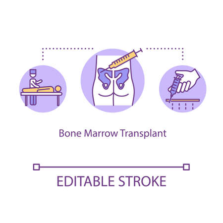 Icono del concepto de trasplante de médula ósea. Ilustración de línea fina de idea de tratamiento de cáncer. Enfermedades de la sangre y de la médula ósea. Oncología hemato. Dibujo de color RGB de contorno aislado vectorial. Trazo editable Ilustración de vector
