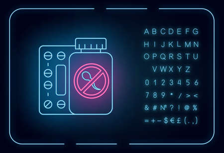 Birth control neon light icon. Unwanted pregnancy prevention. Oral contraceptive. Predmenstrual syndrome aid. Glowing sign with alphabet, numbers and symbols. Vector isolated illustration