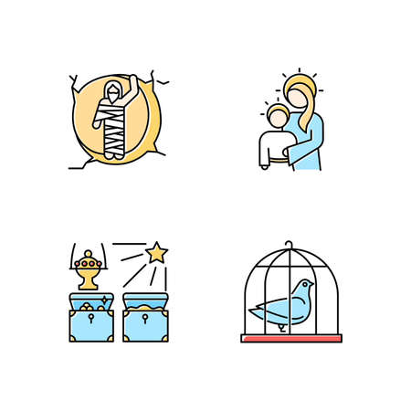 Bible narratives color icons set. Resurrected Lazarus, Virgin Mary with son Jesus, gifts of the magi, pigeon in cage. Easter week. Gospel stories. Holy writ. Isolated vector illustrations