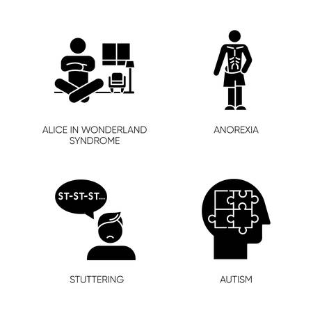 Mental disorder glyph icons set. Alice in wonderland syndrome. Anorexia. Eating disorder. Underweight body. Stuttering. Speech disorder. Autism. Silhouette symbols. Vector isolated illustration 일러스트