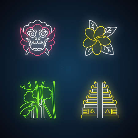 Indonesia neon light icons set. Tropical country plants. Vacation in Indonesian islands. Exploring exotic traditions. Unique flora. Bali sightseeing. Glowing signs. Vector isolated illustrations Ilustrace