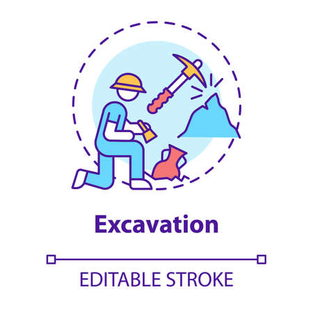 Excavation concept icon. Archaeological expedition. Historical research. Search for ancient artifacts. Cultural layer idea thin line illustration. Vector isolated outline drawing. Editable stroke