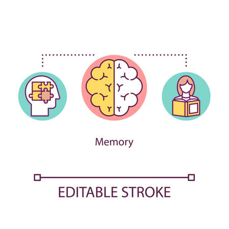 Memory concept icon. Cognitive processes idea thin line illustration. Remembrance. Human intelligence. Ability of thinking. Mental health. Vector isolated outline RGB color drawing. Editable stroke