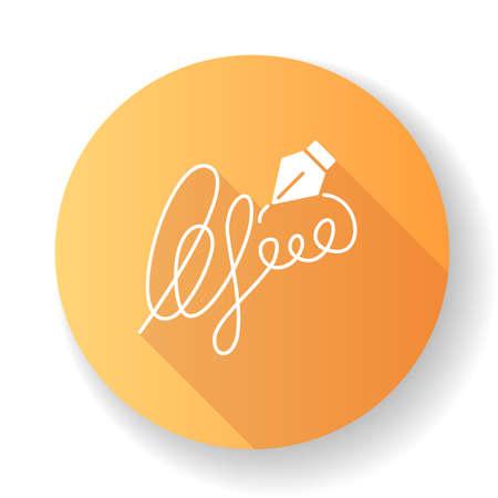 Signatur orange flaches Design lange Schatten Glyphe Symbol. Handschrift. Autogramm. Identitätsnachweis. Nachweis der Einwilligung. Apostille und Legalisation. Notarische Dienstleistungen. Silhouette RGB-Farbabbildung