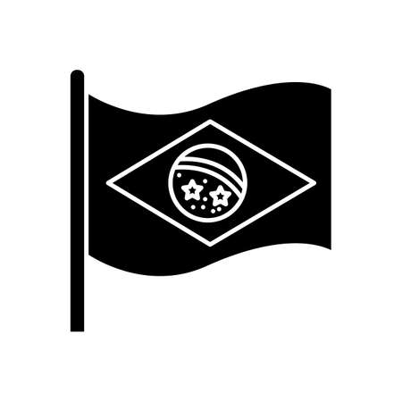 Flag of brazil black glyph icon. State symbol. Constellation over Rio de Janeiro. South american country independence. Silhouette symbol on white space. Vector isolated illustration