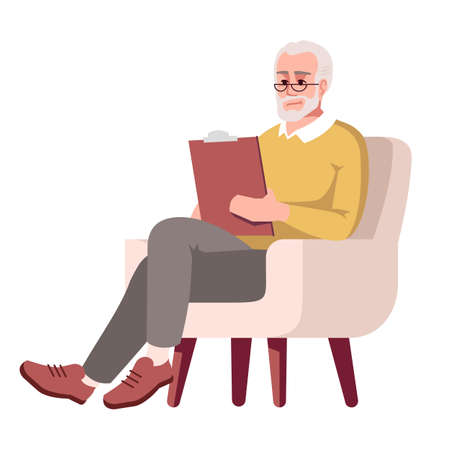 Old man in armchair semi flat RGB color vector illustration. Elderly person with clipboard. Experienced psychologist. Examinator. Psychology consultation. Isolated cartoon character on white