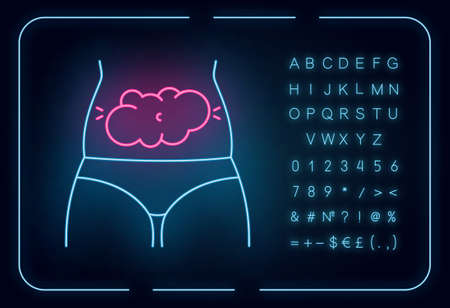 Bloating neon light icon. Predmenstrual abdominal pain. Stomach ache and discomfort. Flatulence and gas. Glowing sign with alphabet, numbers and symbols. Vector isolated illustration
