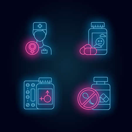 Gynecology neon light icons set. Female doctor consultation. Antidepressant pills. Hormone replacement therapy. Birth control. Oral contraceptive. Glowing signs. Vector isolated illustrations