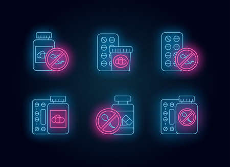 Birth control neon light icons set. Medication and pills. Unwanted pregnancy prevention. Oral contraceptive. Predmenstrual syndrome prescription. Glowing signs. Vector isolated illustrations